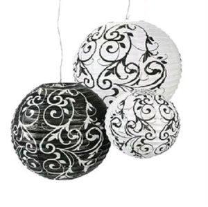 Other - Set of 9 Paper Lantern Black and White Dam